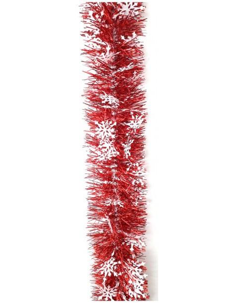 Guirlande scintillante rouge avec flocons blanc  Décoration Noël Tradition