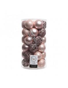 Pack de 37 boules roses poudrées Kaemingk BV Décoration Noël Chic