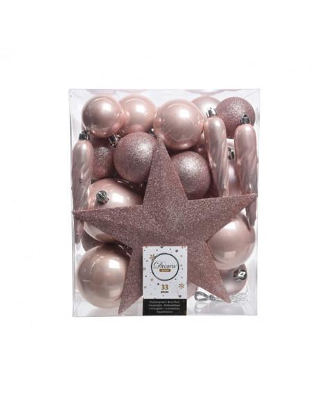 Pack de 33 pièces - Boules & Cimier roses Kaemingk BV Décoration Noël Chic