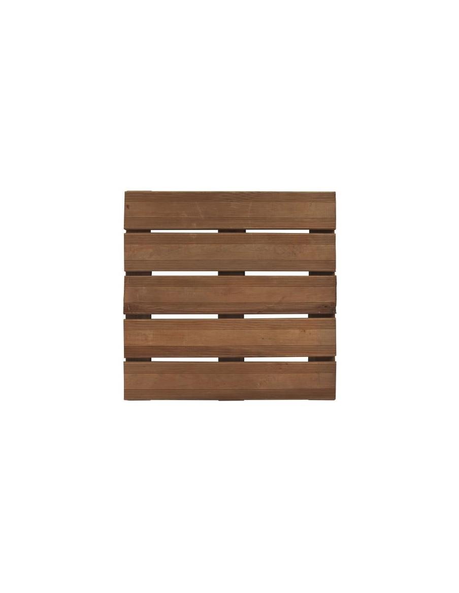 Dalle en bois Bolénia marron 50x50x3 cm Forest Style Dalles, galets et pas japonais