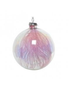 Boule en verre avec plume irisée Kaemingk BV Décoration Noël Chic