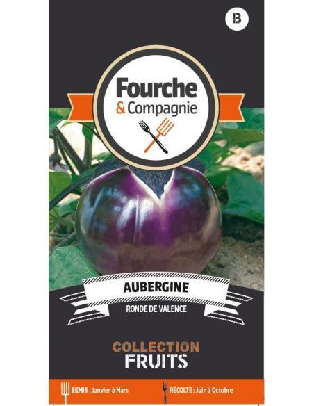 Aubergine ronde de Valence Fourche et Compagnie Graines potagères