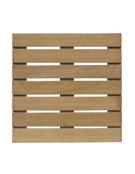 Dalle bois rainurée exotique 50x50x2,4 cm  Dalles, galets et pas japonais