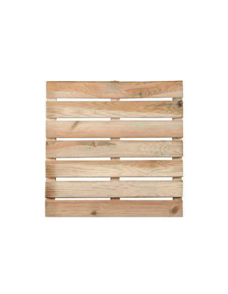 Dalle en bois rainurée 50x50x3,6 cm  Dalles, galets et pas japonais