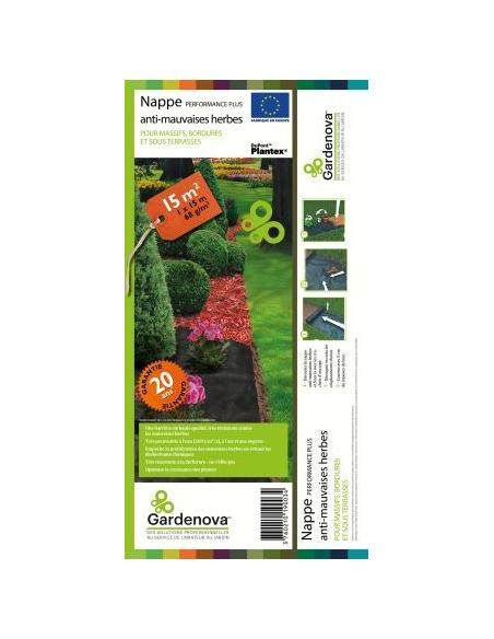 "Nappe Anti-Herbe 15m2 ""Performance Plus"" Gardenova Serres, protection des cultures et récolte"