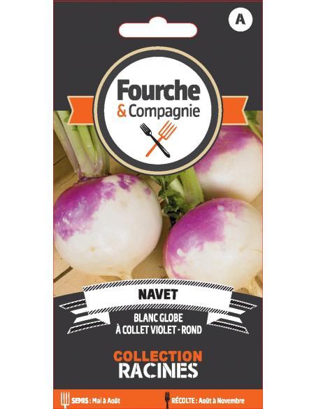 Navet blanc globe à collet violet Fourche et Compagnie Graines potagères