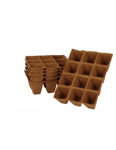 Plaque de Tourbe 12 Pots Carrés 4 x 5 x 3 cm X 3 Jany Flore Matériel pour semis
